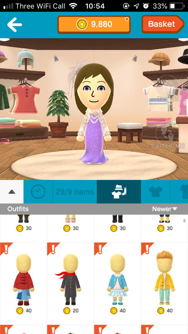 Screenshot of Miitomo Shop in Kaerutomo - our lead developer's Mii is wearing a mermaid dress.